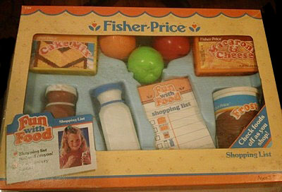 description pretend grocery shopping is realistic and fun with the fisher price shopping list set the set includes several kids favorite foods and a