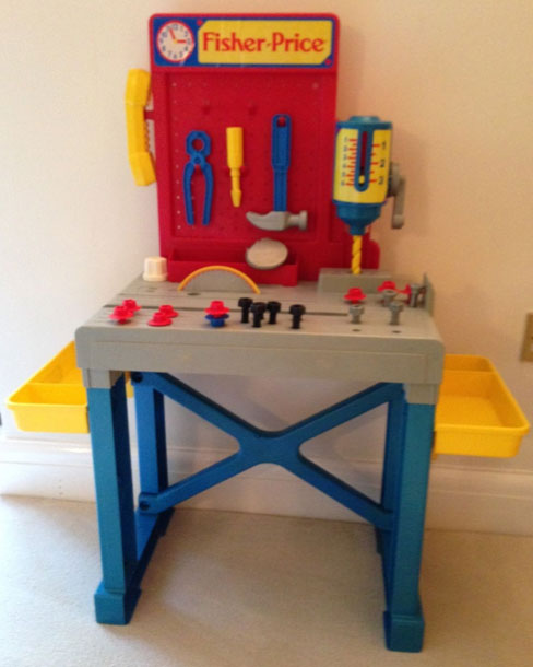 This old toy 39 s fisher price construction site tools workbench workshop and tool box Fisher price tool bench